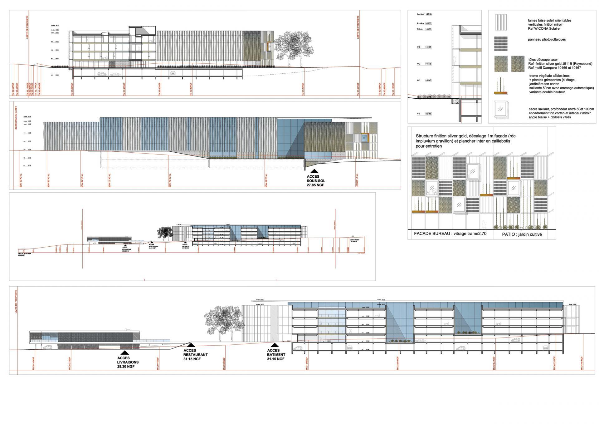 Coupes facades zooms